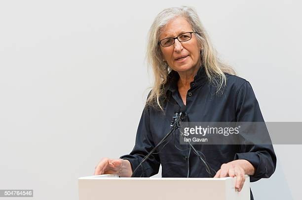 Annie Leibovitz speaks during the press preview of 'WOMEN New Portraits' exhibition commissioned by UBS at The Wapping Project on January 13 2016 in...