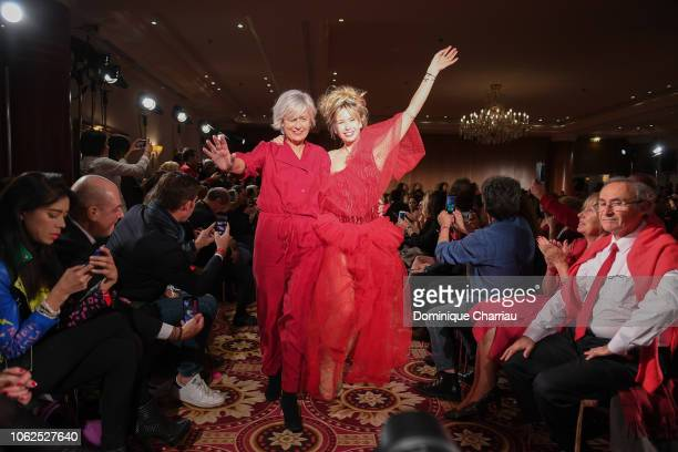 Annie Lemoine and Romane Serda attends the 'Sauvez Le Coeur Des Femmes Red Defile' Show At Hotel Marrriot In Paris on November 16 2018 in Paris France