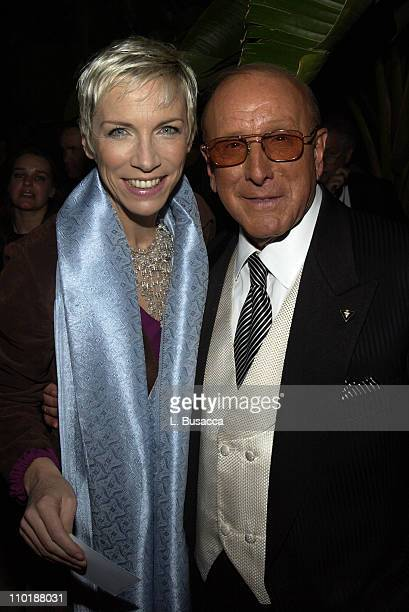 Annie Lennox and Clive Davis during 2004 Clive Davis PreGrammy Party Backstage and Audience at Beverly Hills Hotel in Beverly Hills California United...