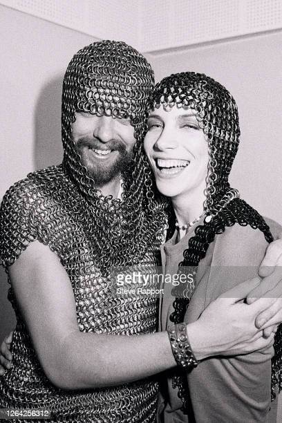 Annie Lennox and Dave Stewart, both of the New Wave & Pop group Eurythmics, both dressed in chainmail, backstage at the Cullen Performance Hall,...