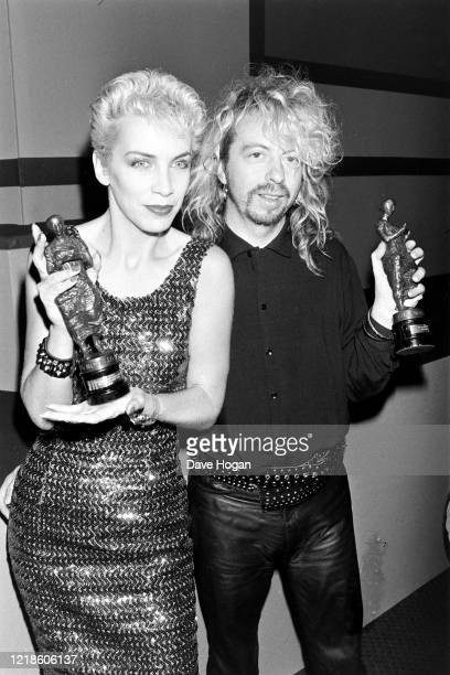 Annie Lennox and Dave Stewart of Eurythmics at the Ivor Novello Awards in May 1987