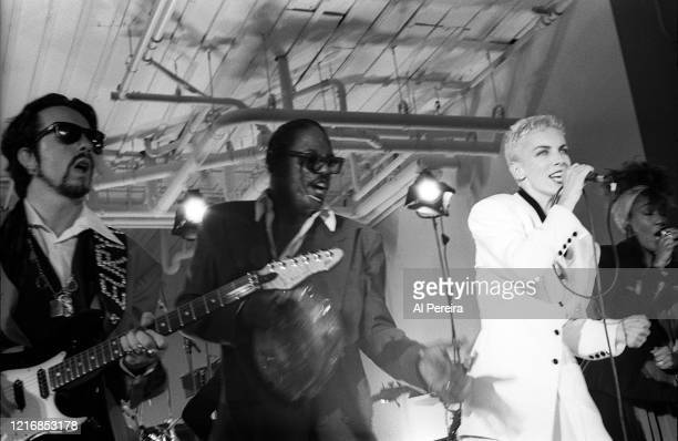Annie Lennox and Dave Stewart of Eurythmics perform a surprise full concert at The Puck Building on August 30 in New York City