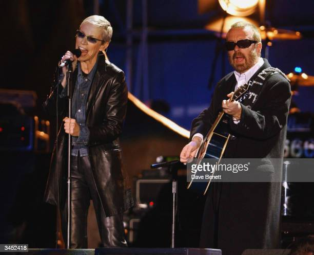 Annie Lennox and Dave Stewart of Eurythmics perform at The Nelson Mandela Foundation's 46664 Give One minute to Aids Concert at The Greenpoint...