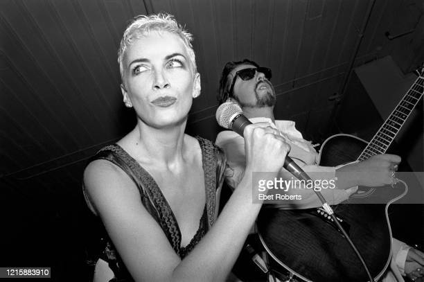 Annie Lennox and Dave Stewart of Eurythmics performing at the Puck Building in New York City on August 30, 1989.