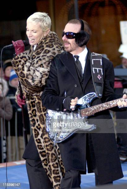 Annie Lennox and Dave Stewart of the Eurythmics during Eurythmics Perform on the 2005 Today Show Holiday Concert Series at NBC Studios in New York...