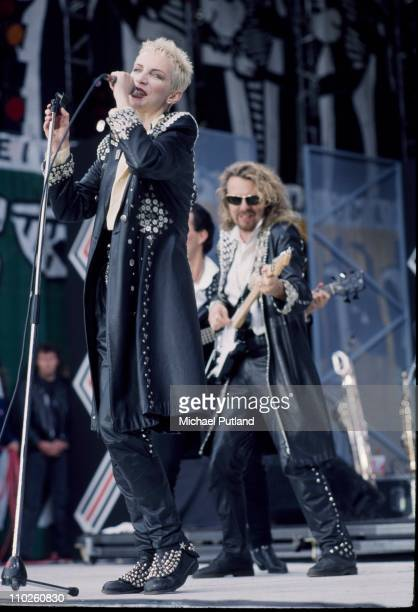 Annie Lennox and Dave Stewart of the Eurythmics perform on stage at the Mandela concert Wembley Stadium London 11th June 1988
