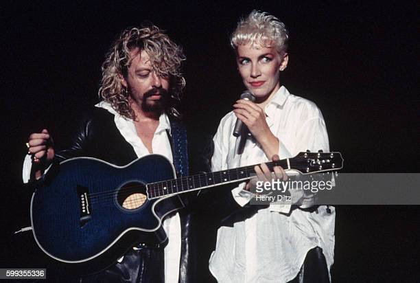 Annie Lennox and Dave Stewart perform during an Eurythmics concert at the Greek Theater