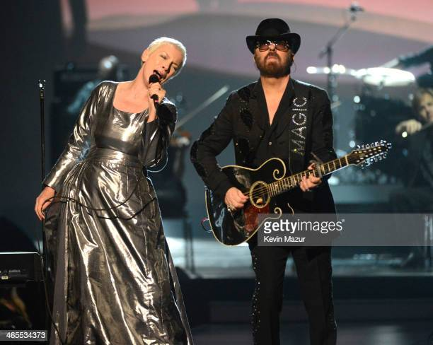 Annie Lennox and Dave Stewart perform onstage at 'The Night That Changed America A GRAMMY Salute To The Beatles' at Los Angeles Convention Center on...