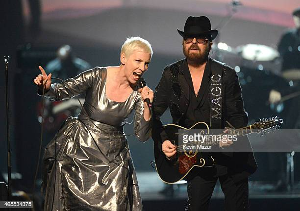 Annie Lennox and Dave Stewart perform onstage at The Night That Changed America A GRAMMY Salute To The Beatles at Los Angeles Convention Center on...