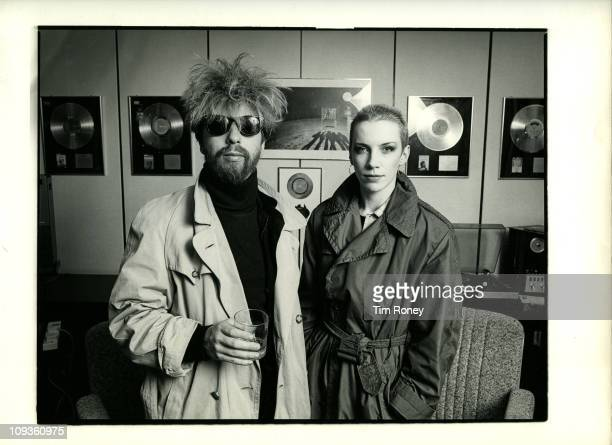 Annie Lennox and David A Stewart of British pop rock duo Eurythmics January 1984 They are at the RCA Records offices where they have just received...