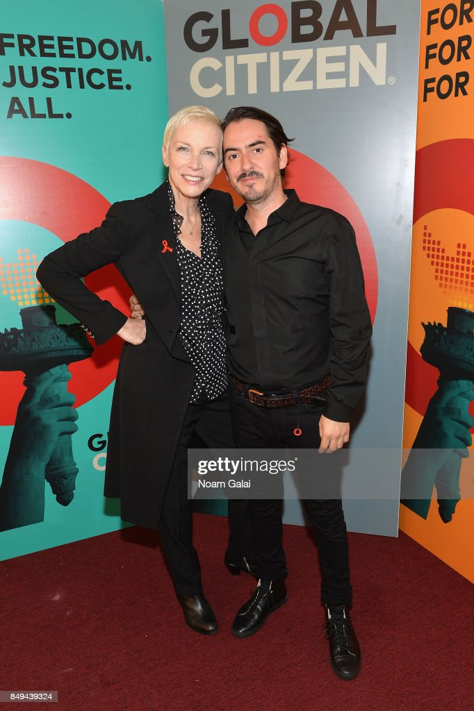 Annie Lennox (L) and Dhani Harrison attend Global Citizen Live! at NYU Skirball Center on September 18, 2017 in New York City.