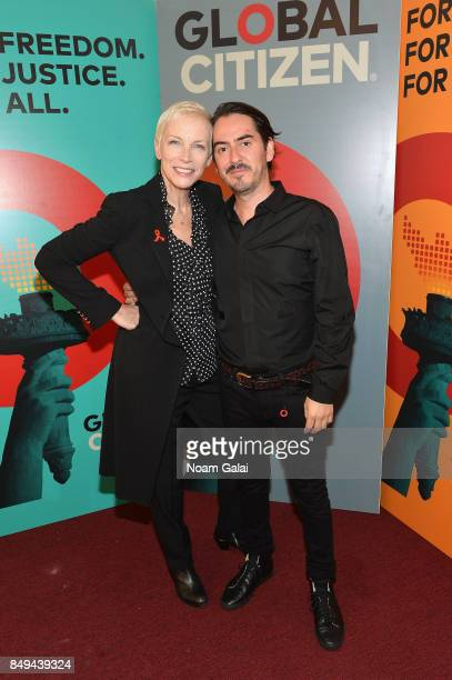 Annie Lennox and Dhani Harrison attend Global Citizen Live! at NYU Skirball Center on September 18, 2017 in New York City.