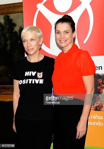 Annie Lennox and Julia Ormond attend the Save The Children Awards press conference at the Asociacion de la Prensa on September 30 2009 in Madrid Spain