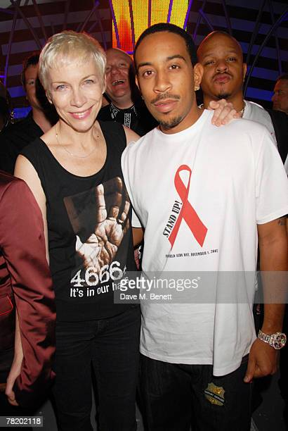 Annie Lennox and Ludacris pose during the 46664 World Aids Day Concert on December 01 2007 in Johannesburg South Africa