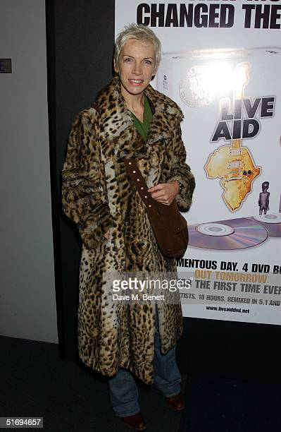 Annie Lennox arrives at the premiere screening of the new fourdisc DVD featuring 10 hours of footage from the historic charity concert Live Aid at...