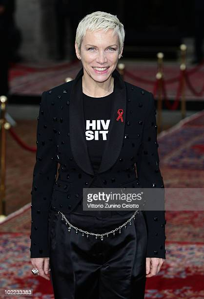 Annie Lennox attend the Dolce Gabbana 20 Years of Menswear during Milan Fashion Week Spring/Summer 2011 on June 19 2010 in Milan Italy