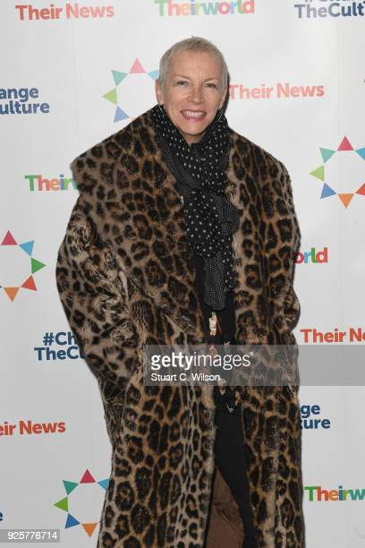 Annie Lennox attends Sarah Brown's Theirworld charity event held in London's Connaught Rooms ahead of International Women's Day March 1 2018 in...