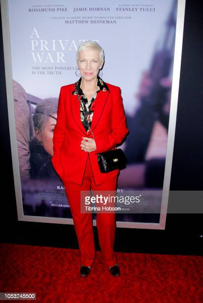 Annie Lennox attends the Los Angeles premiere of 'A Private War' at Samuel Goldwyn Theater on October 24 2018 in Beverly Hills California