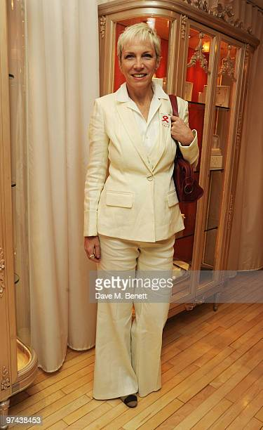 Annie Lennox attends the private dinner for the White Ribbon Alliance's Global Dinner Party Campaign at Agua in the Sanderson Hotel on March 4 2010...