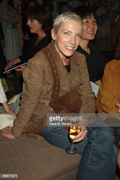Annie Lennox attends the private view for Julian Schnabel's Pintura Del Figlo XXI his first show in 6 years at 38 Dover Street on October 19 2005 in...
