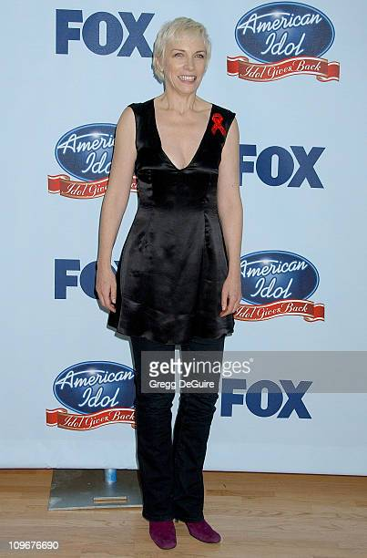 "Annie Lennox during ""American Idol"" Gives Back - Photo Room at Walt Disney Concert Hall in Los Angeles, California, United States."