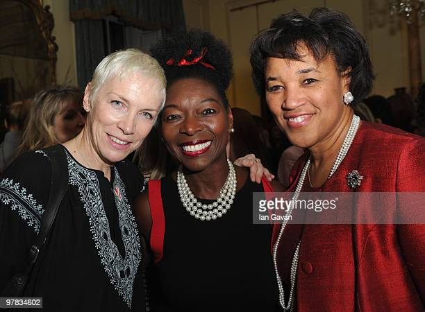 Annie Lennox Floella Benjamin and Baroness Scotland of Asthal attend a reception with Gordon Brown In Aid Of Women's Day at 10 Downing Street on...