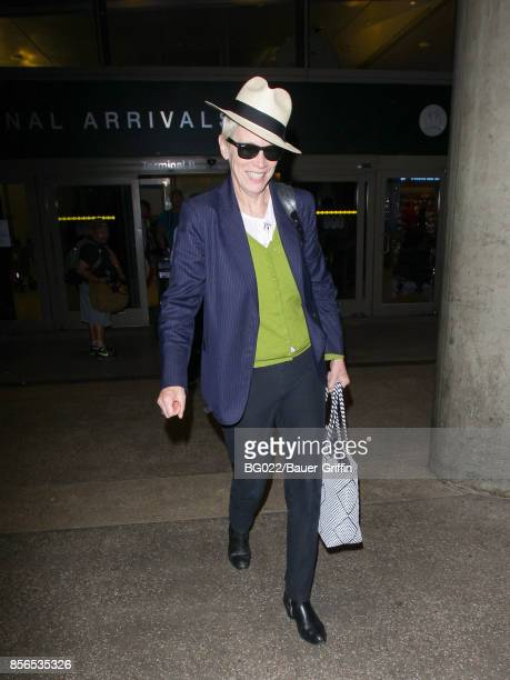 Annie Lennox is seen at Los Angeles International Airport on October 01 2017 in Los Angeles California