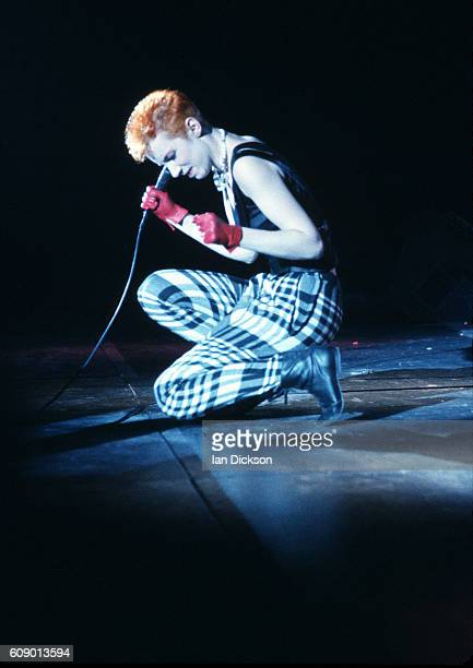 Annie Lennox of Eurythmics performing on stage at Touch Tour Hammersmith Odeon London 03 December 1983