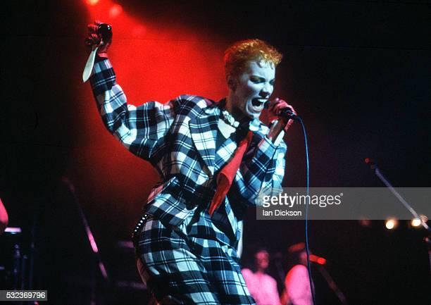 Annie Lennox of Eurythmics performing on stage London United Kingdom 1983