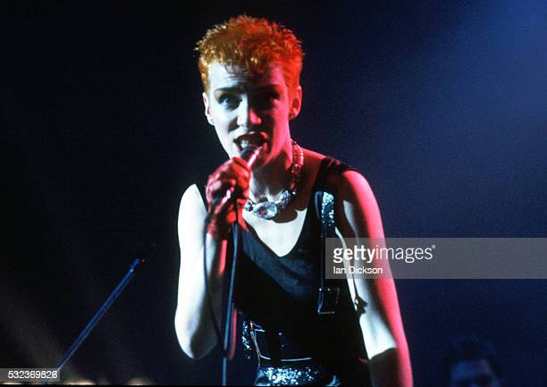 Annie Lennox of Eurythmics performing on stage London United Kingdom 1983