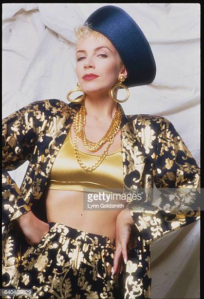 Annie Lennox of The Eurythmics in Gold and Black Outfit