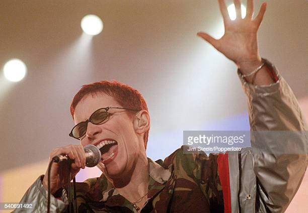 Annie Lennox of the Eurythmics performing on stage during the NetAid Concert held at Wembley Stadium in London on the 9th October 1999
