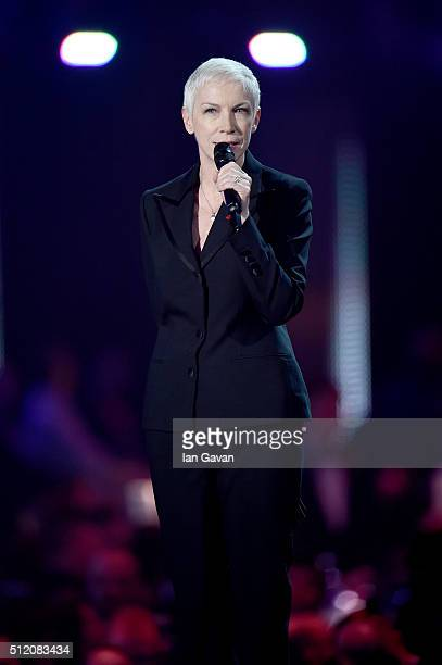 Annie Lennox on stage during a tribute to David Bowie at the BRIT Awards 2016 at The O2 Arena on February 24 2016 in London England