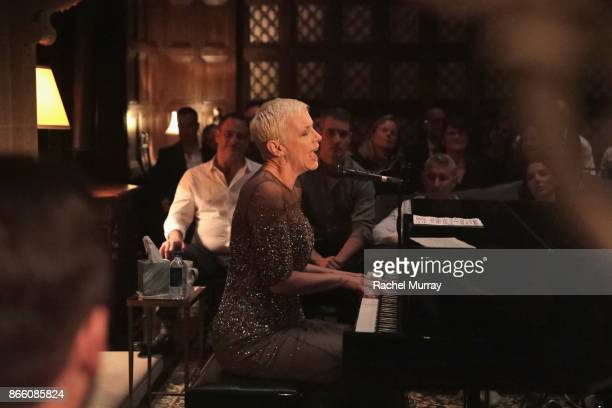 Annie Lennox performs at The Elizabeth Taylor AIDS Foundation and mothers2mothers dinner at Ron Burkle's Green Acres Estate on October 24 2017 in...