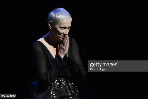 Annie Lennox performs during 'Annie Lennox - An Evening of Music and Conversation' at Sadler's Wells Theatre on March 4, 2018 in London, England.