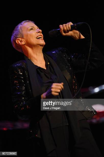 Annie Lennox performs during 'Annie Lennox An Evening of Music and Conversation' at Sadler's Wells Theatre on March 4 2018 in London England