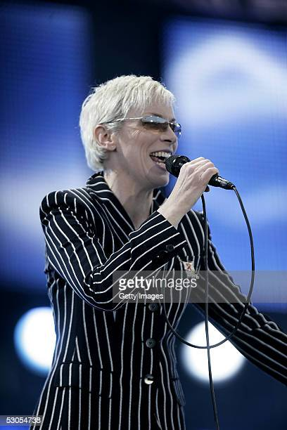 Annie Lennox performs on stage at the 46664 Arctic concert at Fyllingen on June 11 2005 in Tromso Norway The fourth concert aims to raise awareness...
