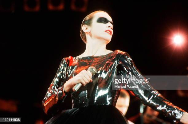 Annie Lennox performs on stage at the Freddie Mercury Tribute Concert for AIDS Awareness Wembley Stadium London 20th April 1992