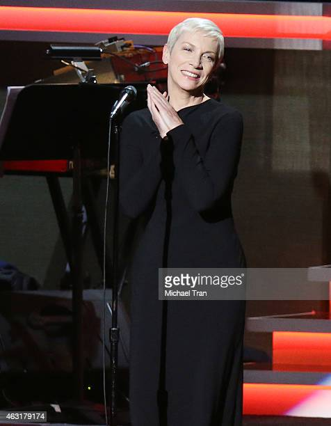 Annie Lennox performs onstage during the Stevie Wonder Songs In The Key Of Life An AllStar GRAMMY Salute held at Nokia Theatre LA Live on February 10...