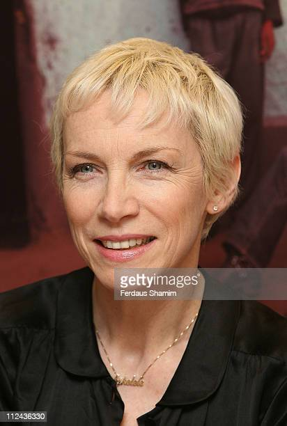 Annie Lennox poses during the launch of her Sing CD at the Body Shop on March 10 2008 in London England