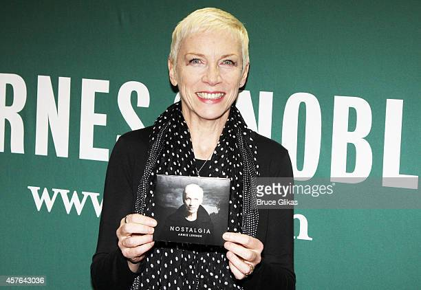 Annie Lennox signs copies of her new album 'Nostalgia' at Barnes Noble Union Square on October 21 2014 in New York City