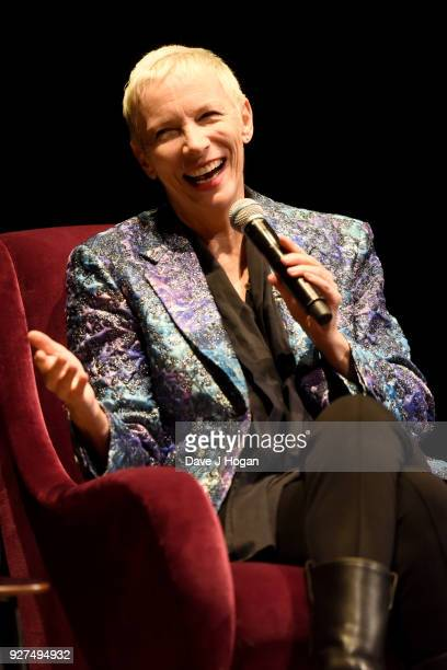 Annie Lennox speaks on stage during 'Annie Lennox An Evening of Music and Conversation' at Sadler's Wells Theatre on March 4 2018 in London England
