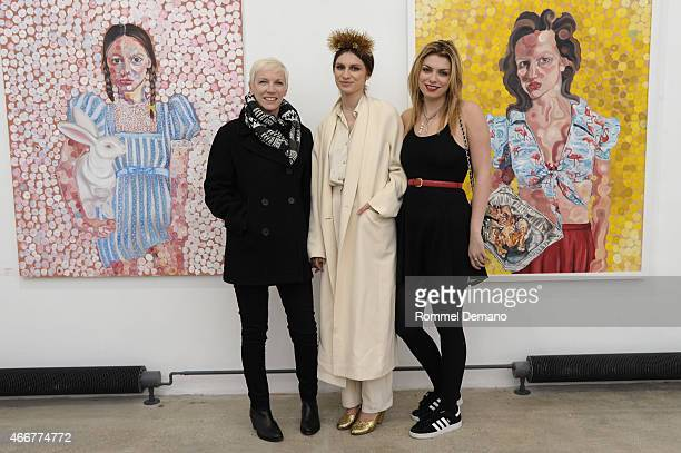 Annie Lennox Tali Lennox and Lola Fruchtmann attend the Tali Lennox Exhibition Opening Reception at Catherine Ahnell Gallery on March 18 2015 in New...