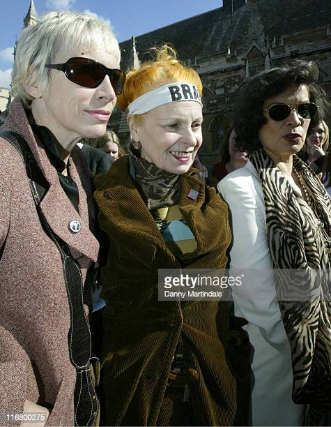 Annie Lennox Vivienne Westwood and Bianca Jagger during Trident Replacement Vote CND Parliamentary Protest at Houses of Parliament in London United...