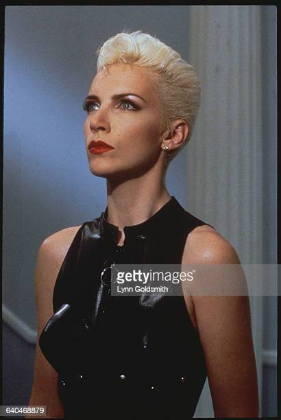 Annie Lennox Wearing Black Leather Vest