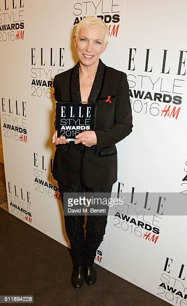 Annie Lennox winner of the Outstanding Achievement award poses in the winners room at The Elle Style Awards 2016 on February 23 2016 in London England
