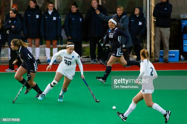 Annie Leonard Middlebury College regains possession during the Division III Women's Field Hockey Championship held at Trager Stadium on November 19...