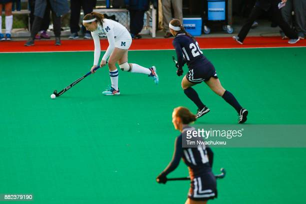 Annie Leonard of Middlebury College brings the ball downfield during the Division III Women's Field Hockey Championship held at Trager Stadium on...