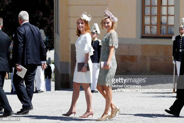 Annie Loof and Ebba Busch Thor leave the christening of Princess Adrienne of Sweden at Drottningholm Palace Chapel on June 8 2018 in Stockholm Sweden