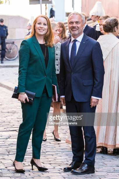 Annie Loof, leader of the Center party, and Jan Bjorklund, leader of the Liberal party, attend a church service at the Stockholm Cathedral in...